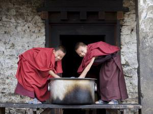 Buddhist Monks, Karchu Dratsang Monastery, Jankar, Bumthang, Bhutan by Angelo Cavalli