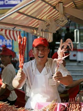 Chinese Food, Wangfujing Snack Road, Wangfujing Dajie Shopping District, Beijing, China by Angelo Cavalli