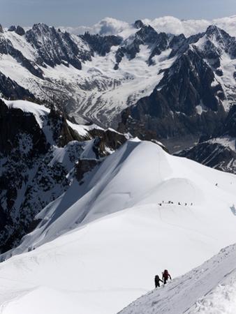 Climbers on Mont Blanc, Aiguille Du Midi, Mont Blanc Massif, Haute Savoie, French Alps, France, Eur by Angelo Cavalli