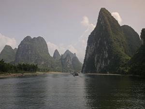 Cruise Boat on Li River Between Guilin and Yangshuo, Guilin, Guangxi Province, China by Angelo Cavalli