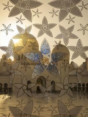 Decorated Glass Door in Sheikh Zayed Grand Mosque, Abu Dhabi, United Arab Emirates, Middle East by Angelo Cavalli