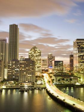 Downtown Skyline at Dusk, Miami, Florida, United States of America, North America by Angelo Cavalli