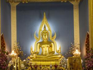 Giant Golden Statue of the Buddha, Wat Benchamabophit (Marble Temple), Bangkok, Thailand by Angelo Cavalli