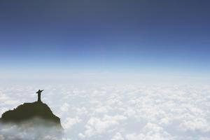 Statue of Christ the Redeemer Above the Clouds, Corcovado, Rio De Janeiro, Brazil, South America by Angelo Cavalli