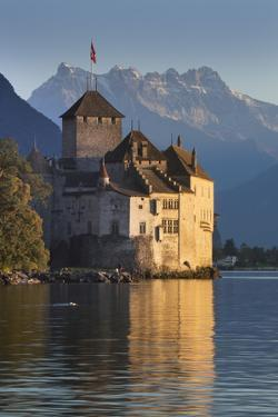 The Castle of Chillon, on Lake Geneva, Montreux, Canton Vaud, Switzerland, Europe by Angelo Cavalli