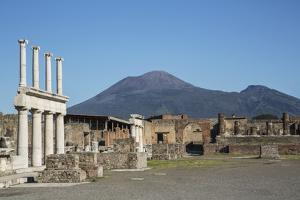 The Forum and Vesuvius Volcano, Pompeii, UNESCO World Heritage Site, Campania, Italy, Europe by Angelo Cavalli
