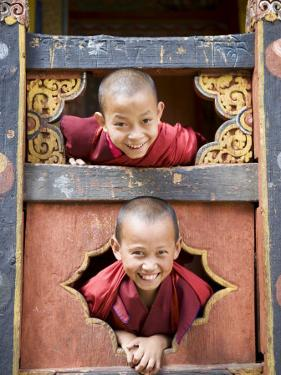 Young Buddhist Monks, Paro Dzong, Paro, Bhutan, Asia by Angelo Cavalli