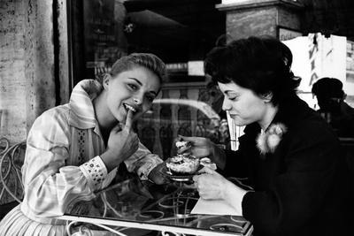 Virna Lisi Eating an Ice-Cream with Her Sister Esperia Pieralisi in Rome