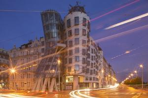 Dancing House (Ginger and Fred) by Frank Gehry, at Night, Prague, Czech Republic, Europe by Angelo