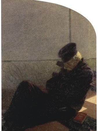 Dream and Reality (Man in a Black Hat and Coat Sleeping)