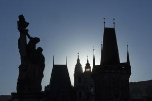 Old Town Bridge Tower and Statue on Charles Bridge by Angelo