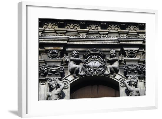 Angels Holding Coat of Arms, Architectural Detail from a Building--Framed Giclee Print