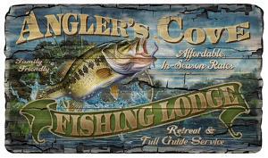 Angler's Cove Fishing Lodge Vintage Wood Sign