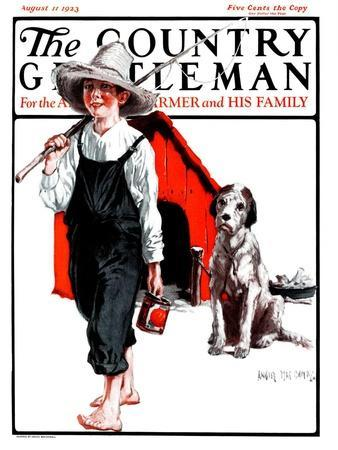 """""""Gone Fishing Without Fido,"""" Country Gentleman Cover, August 11, 1923"""
