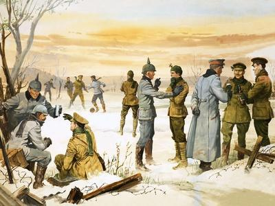 British and German Soldiers Hold a Christmas Truce During the Great War