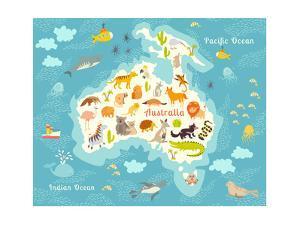 Animals World Map, Australia. Australian Animals Poster. Australia Map.Australia Mammals Cartoon St by Rimma Z