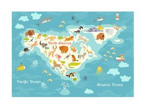 Animals World Map, North America.Colorful Cartoon Vector Illustration for Children and Kids. North by Rimma Z