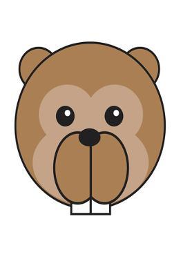 Beaver - Animaru Cartoon Animal Print by Animaru