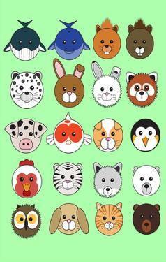 Mixed Lime Green - Animaru Cartoon Animal Print by Animaru