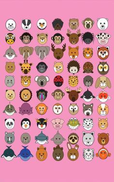 Mixed Pink - Animaru Cartoon Animal Print by Animaru