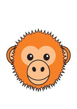 Monkey - Animaru Cartoon Animal Print by Animaru