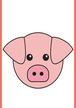 Pig - Animaru Cartoon Animal Print by Animaru
