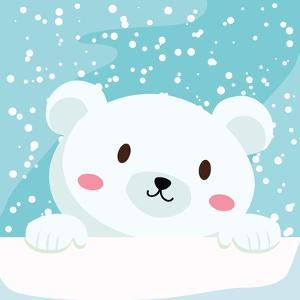 Close Up Picture of a Cute Polar Bear Hold on to the Ice in Snow Day by anitnov