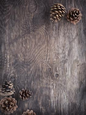Rustic Wood Background with Pine Cones by AnjelaGr