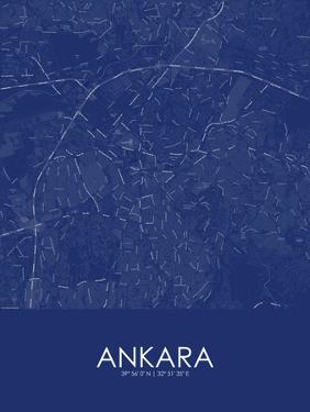 Ankara, Turkey Blue Map