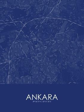 Ankara, Turkey Blue Map