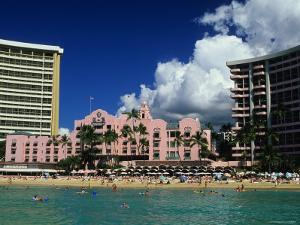 Exterior of the Royal Hawaiian Hotel with Waikiki Beach in Foreground by Ann Cecil