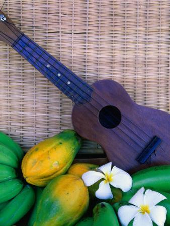 Green Bananas, Papayas, Plumeria and Ukulele, U.S.A. by Ann Cecil
