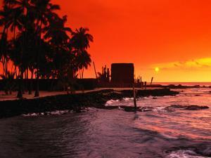 Orange Sunset Over the Sacred Bay, South Kona Coast, Puuhonua O Honaunau National Park, Hawaii, USA by Ann Cecil