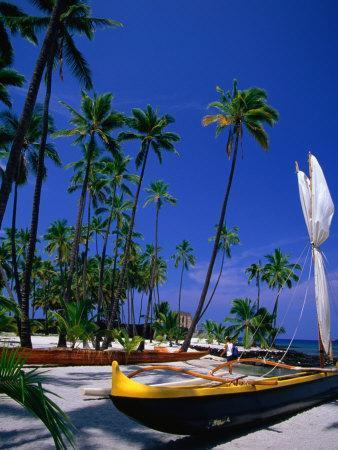 Outrigger Canoe on the Sand at Puuhonua O Honaunau on the South Kona Coast, Hawaii, USA