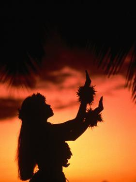 Silhouette of Hula Dancer on Waikiki Beach at Sunset, Waikiki, U.S.A. by Ann Cecil