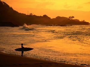 Surfer Standing at Waimea Bay at Sunset, Waimea, U.S.A. by Ann Cecil