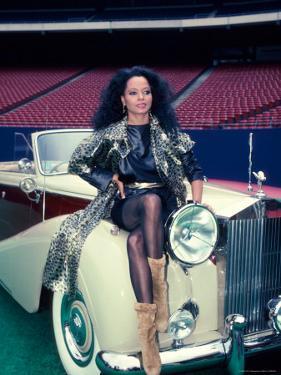 Singer Diana Ross, Sitting on Hood of Rolls Royce by Ann Clifford