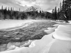 Canada, Alberta, Banff National Park. Dawn at the Bow River and Morant's Curve by Ann Collins