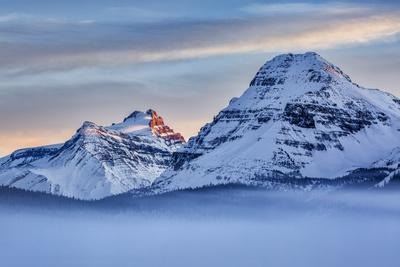 Canada, Alberta, Banff National Park, Mount Hector, Bow Peak, and fog over Bow Lake