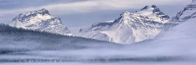 Canada, Alberta, BanffNP, Panoramic view of Mount Andromache, Mount Hector, and Bow Lake with fog