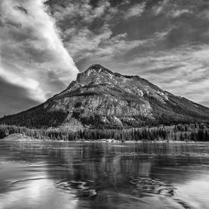 Canada, Alberta, Bow Valley Provincial Park, Mount Baldy and frozen Barrier Lake by Ann Collins