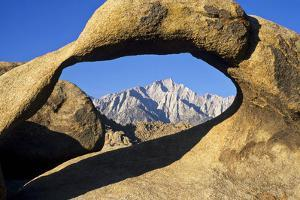 USA, California, Eastern Sierra. Lone Pine Peak Through the Mobius Arch in the Alabama Hills by Ann Collins
