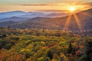 USA, North Carolina, Blue Ridge Parkway. Autumn sunset from Beacon Heights by Ann Collins