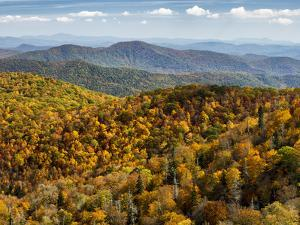 USA, North Carolina, Pisgah National Forest, View from the Blue Ridge Parkway's East Fork Overlook by Ann Collins