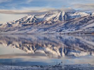 USA, Utah, Heber Valley, Winter Reflection of Mount Timpanogos in Deer Creek Reservoir at Sunrise by Ann Collins
