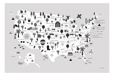 Fun USA Map BW