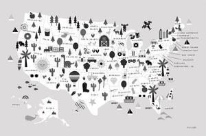 Fun USA Map BW by Ann Kelle
