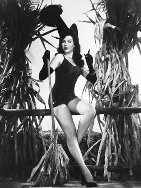 Ann Miller Having a Witchy Halloween at Columbia