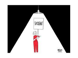 """FBI.  Dissent.  (A light used during interrogations, shines on a woman carrying a """"Dissent"""" sign.) by Ann Telnaes"""