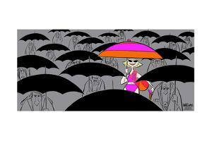 Girl with umbrella. by Ann Telnaes